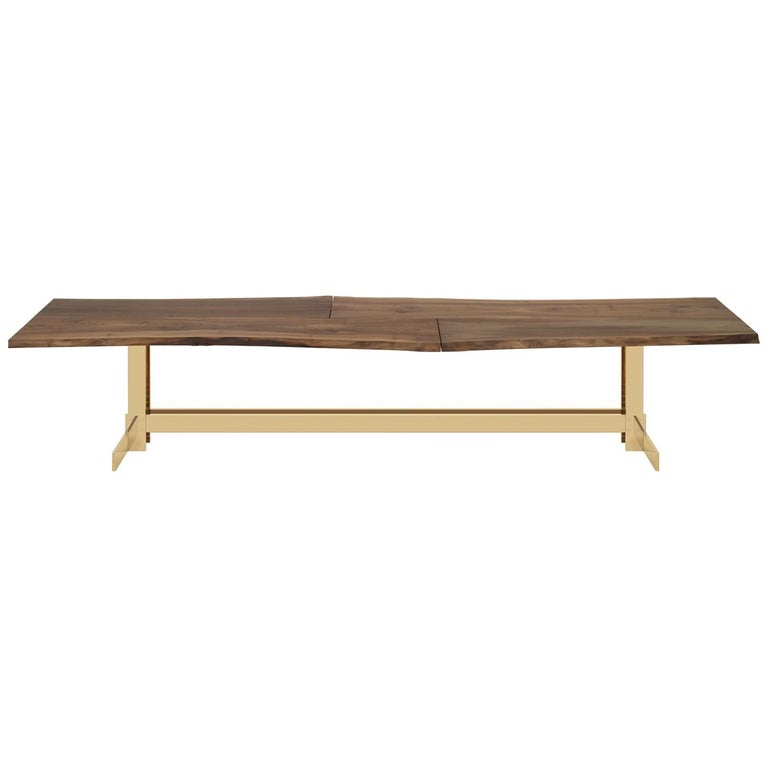 e15 Selected Trunk II Table with Brass Polished Base by Philipp Mainzer For Sale