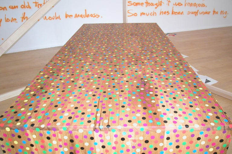 Modern e15 Selected Willhelm Table in Oak with Screen Printed Dots by Bernhard Willhelm For Sale