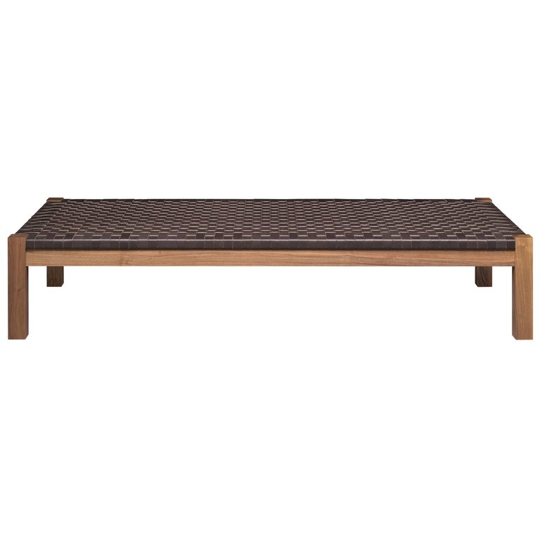 For Sale: Brown (Mocca) e15 Theban Daybed with Walnut Waxed Base by Ferdinand Kramer