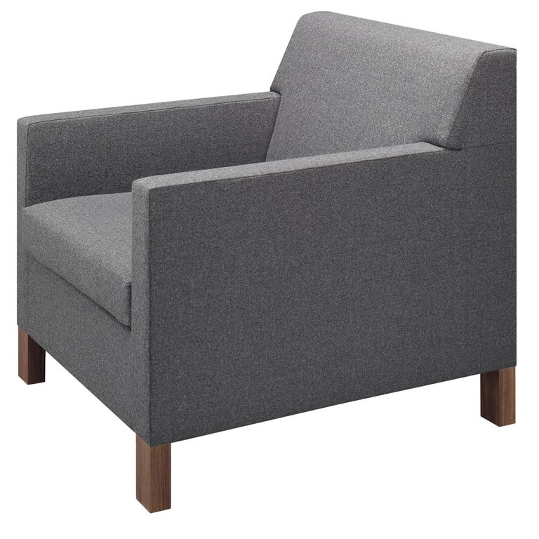 For Sale: Gray (Stone Lama) e15 Weissenhof Lounge Chair with Walnut Waxed Base by Ferdinand Kramer