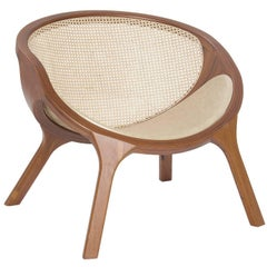 E2 Brazilian Contemporary Wood, Leather and Straw Easychair by Lattoog