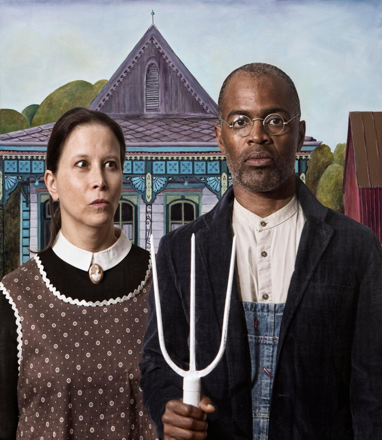 E2 - Kleinveld & Julien Portrait Photograph - Ode to Grant Wood's American Gothic