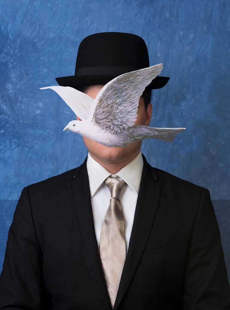 E2 - Kleinveld & Julien Figurative Photograph - Ode to Magritte's Man in a Bowler Hat