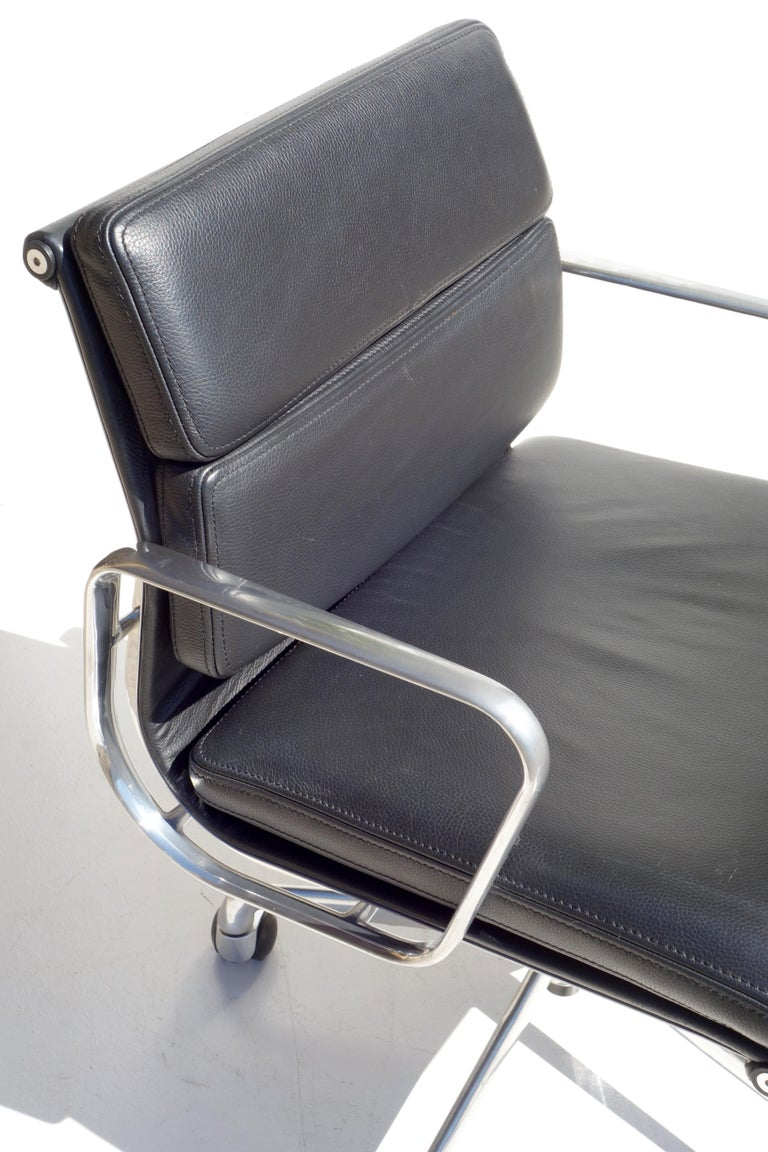 Italian EA 217 Charles Eames by ICF Soft Pad Black Leather Desk Chair For Sale
