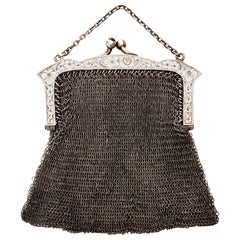 E.A. Bliss Co Sterling Silver Mesh Coin Purse with Chain