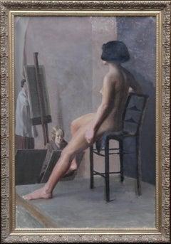 Female Nude Women's Art Class Portrait - British 40's Slade School oil painting