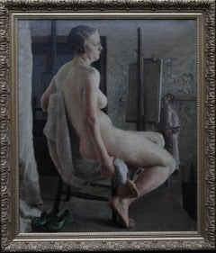 Nude in Life Class with Green Shoes - British 40's Slade School art oil painting