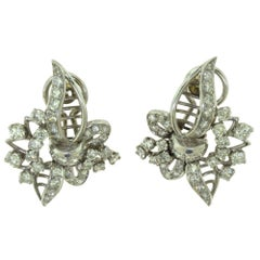 EAC Signed Antique Round Diamond Floral Leaf Patterned Statement Earrings