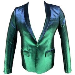 EACH X OTHER Size 36 Green Iridescent Polyester Blend Sport Coat
