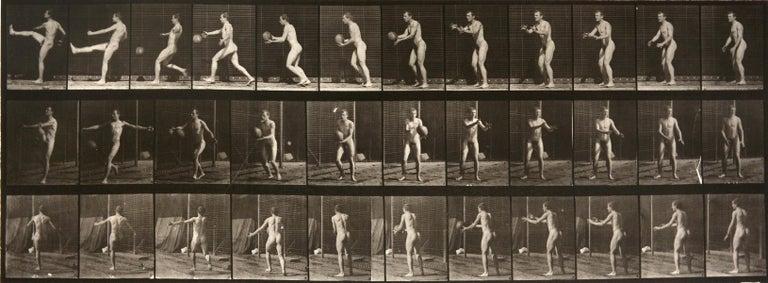 Animal Locomotion: Plate 301 (Nude Man Kicking Ball) - Eadweard Muybridge - Photograph by Eadweard Muybridge
