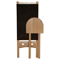Eæ Slip Chair in White Oak and Charcoal Horween Leather by Erickson Aesthetics