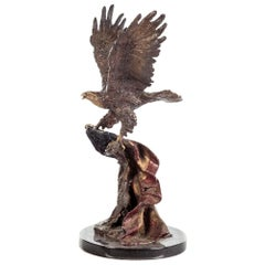 Eagle and Flag Bronze Sculpture by Lorenzo E. Ghiglieri, Limited Edition 205/475