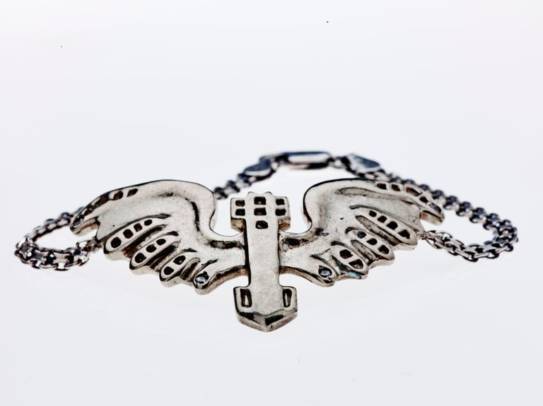 Eagle Bracelet Sapphire White Bronze Silver Chain J Dauphin  Available for immediate delivery  On request can also be made in 14k Gold with White Diamonds. Price available on request