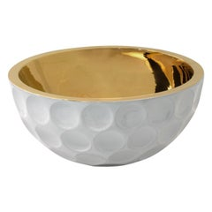 EAGLE, Ceramic Golf Bowl Handcrafted in 24Kt Gold by Gabriella B. Made in Italy