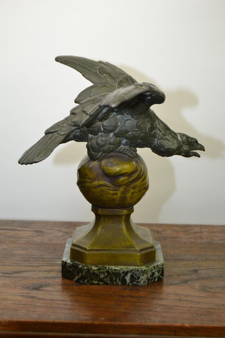 Eagle on Globe Ornament by Ch Perron, France, Art Nouveau For Sale 7