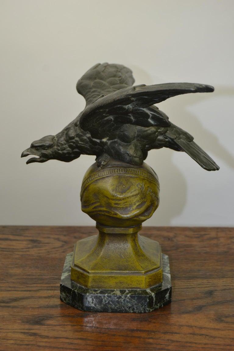 Metal Eagle on Globe Ornament by Ch Perron, France, Art Nouveau For Sale