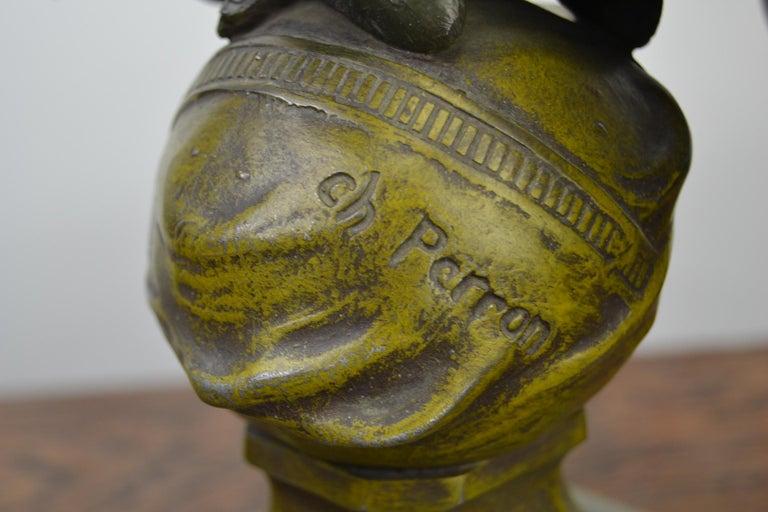 Eagle on Globe Ornament by Ch Perron, France, Art Nouveau For Sale 2