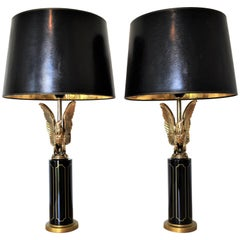Eagle Table Lamps Attributed to Maison Charles, Hollywood Regency