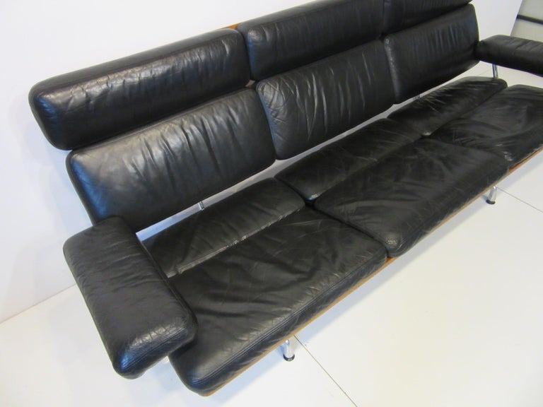Eames 3473 Leather Soft Pad / Walnut Aluminum Group Sofa for Herman Miller In Good Condition For Sale In Cincinnati, OH