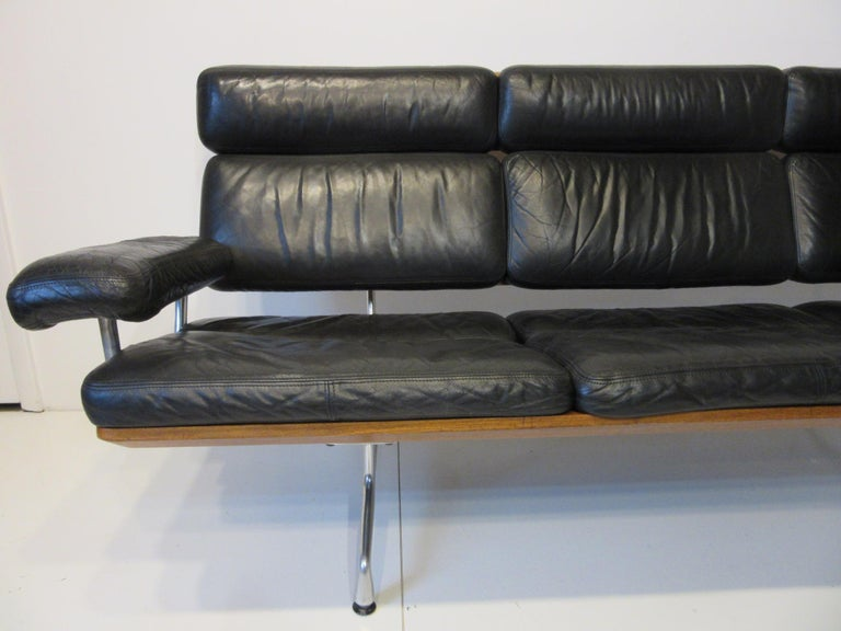 20th Century Eames 3473 Leather Soft Pad / Walnut Aluminum Group Sofa for Herman Miller For Sale