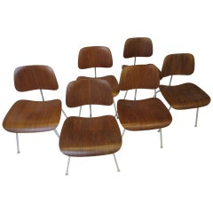 Eames 6 DCM Walnut Dining Chairs
