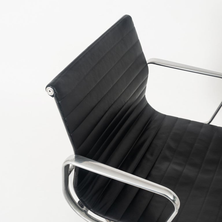 North American Eames Aluminum Group Leather Desk Chair For Sale