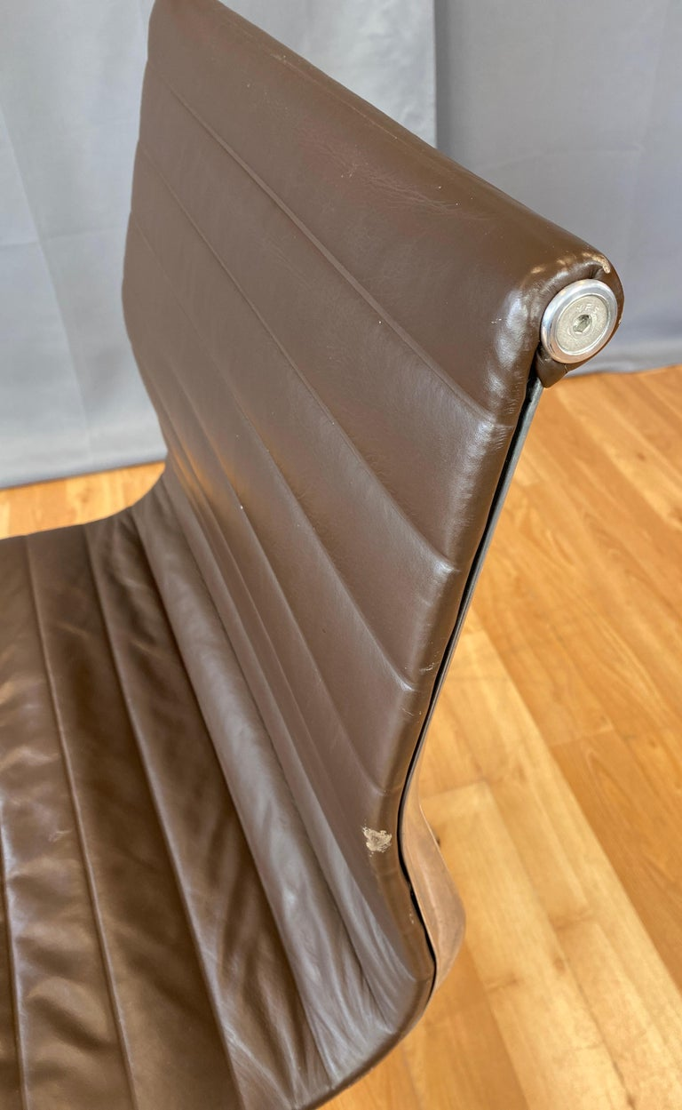 Eames Aluminum Group Side Chair, in Brown Leather 5 Star Base For Sale 6