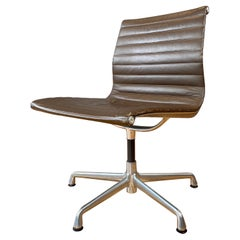 Eames Aluminum Group Side Chair, in Brown Leather 5 Star Base