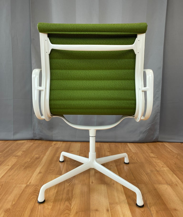 Contemporary Eames Aluminum Group Side Chair, White Frame, Light Olive Green Upholstery For Sale