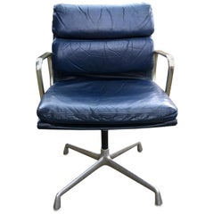 Eames Blue Leather Soft Pad Swivel Armchair for Herman Miller