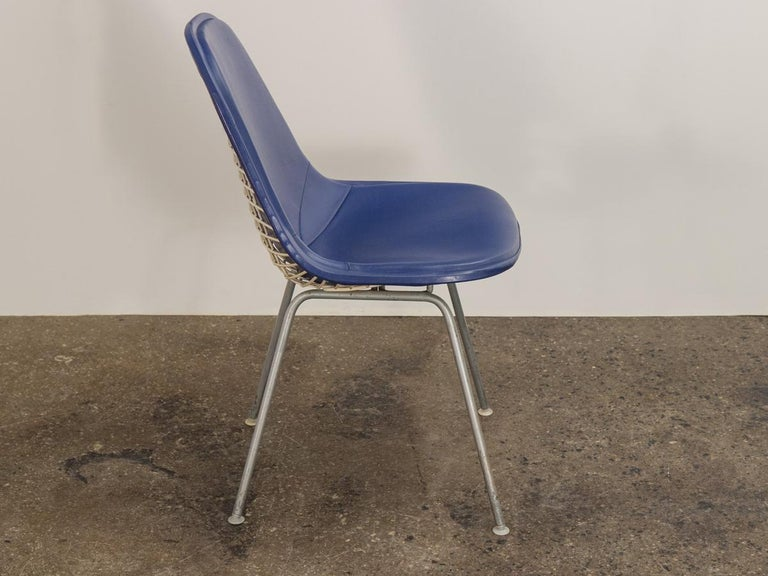 American Eames Blue Padded Wire Shell Chair For Sale