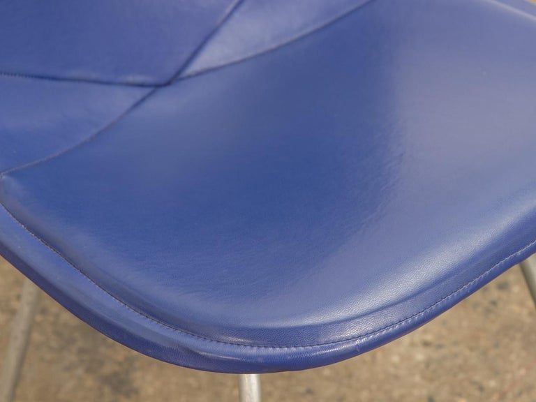 Steel Eames Blue Padded Wire Shell Chair For Sale