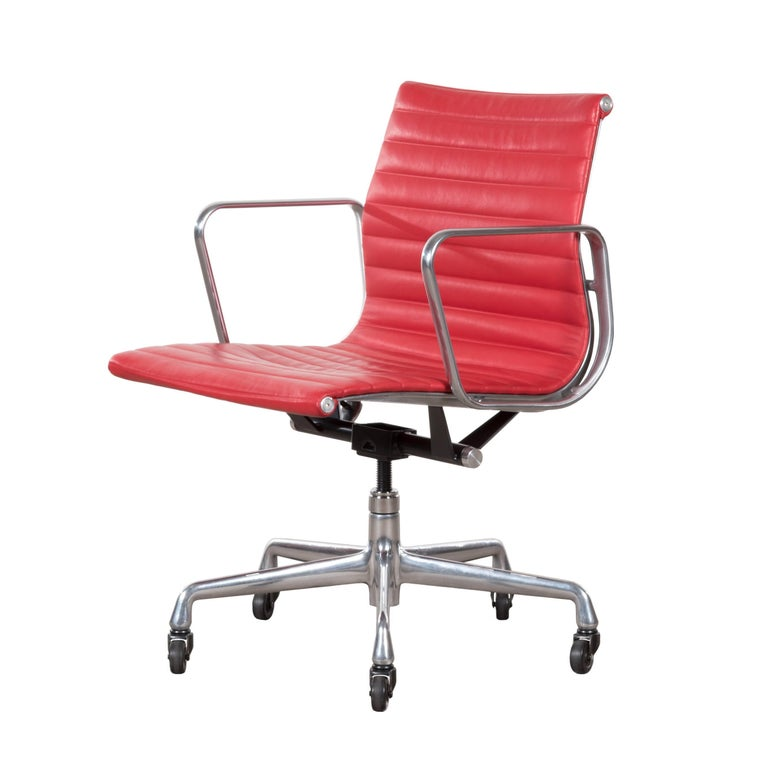 Eames Bright Red Leather Management Office Chair for Herman Miller
