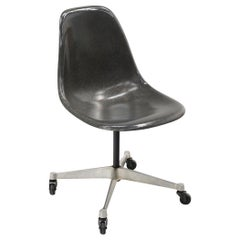 Eames Bucket or Shell Chair in Gray Molded Fiberglass on Aluminum Base, Casters