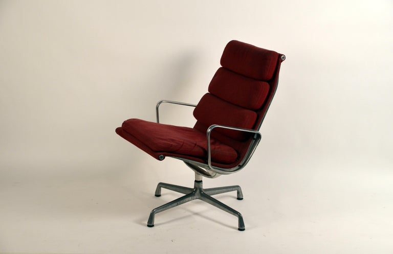 Molded Eames Burgungy EA 216 Soft Pad Swiveling Lounge Chair for Herman Miller For Sale