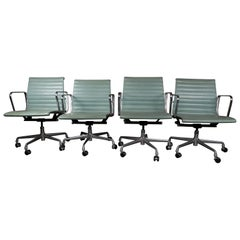 Seafoam Blue Leather Eames Chairs by Ray and Charles Eames for Herman Miller
