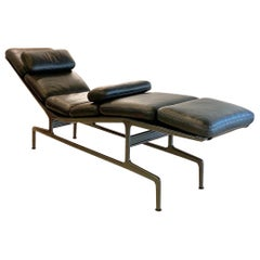 Eames Chaise Lounge Black Leather Charcoal Frame