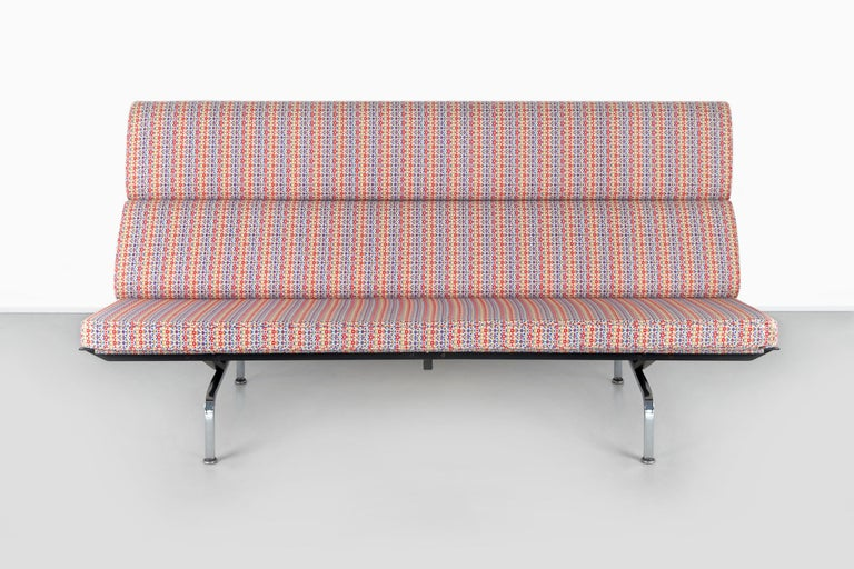 """Eames compact sofa  designed by Charles and Ray Eames for Herman Miller  USA, circa 1950s  Metal and upholstered in Arabesque fabric by Alexander Girard  Measures: 36"""" H x 71 ½"""" W x 29"""" D x seat 16 ¼"""" H."""