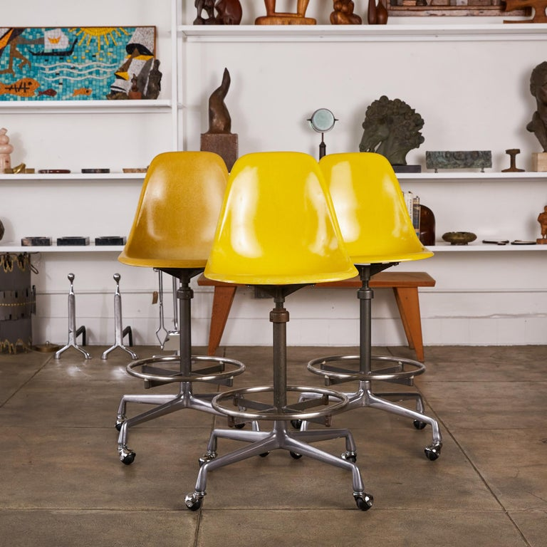 Eames Drafting Stools for Herman Miller In Excellent Condition For Sale In Los Angeles, CA