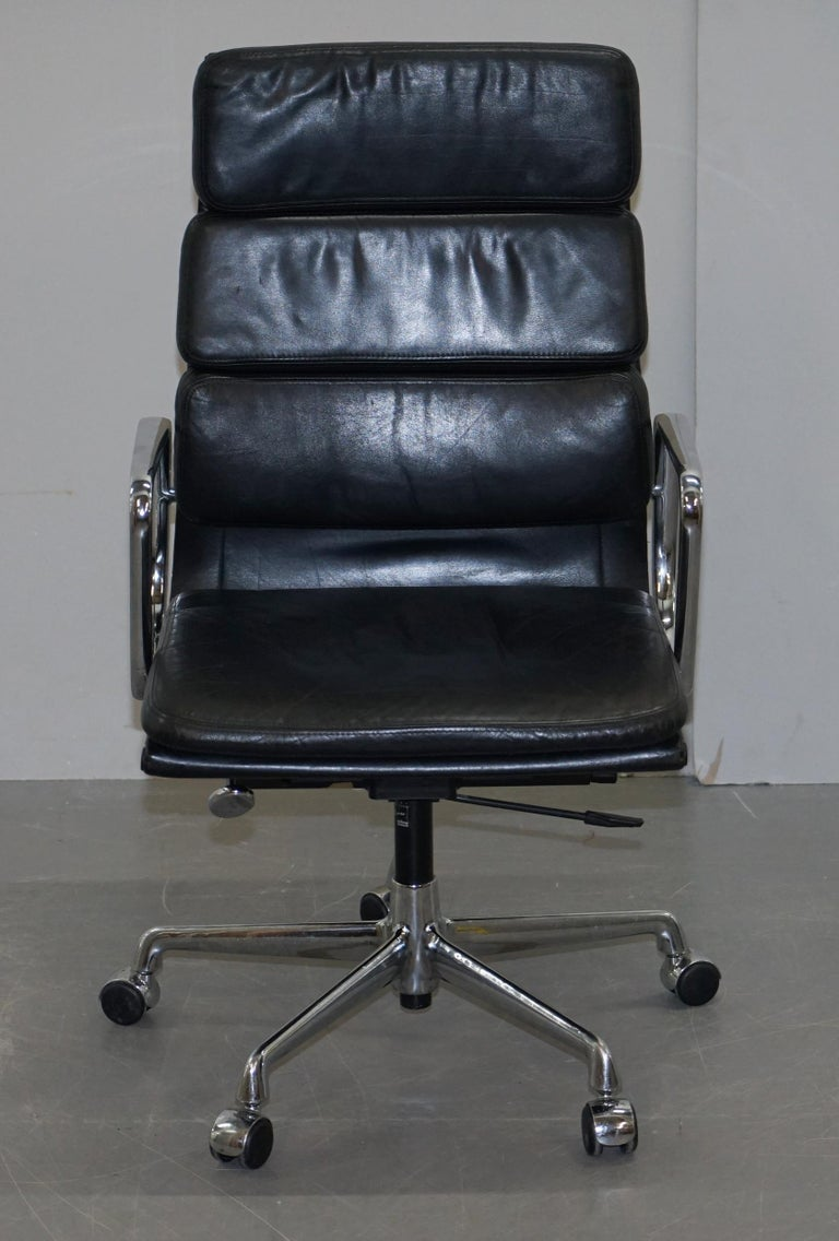 We are delighted to offer for sale this very comfortable Charles Eames retailed through Vitra Italy fully stamped RRP £3620 high back soft pad office chair with chrome swivel base  Pretty much one of the most iconic chairs ever made, the history,