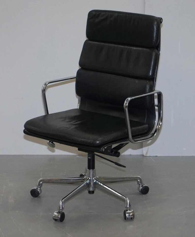 Art Deco Eames EA219 Vitra Eames High Soft Pad Office Armchair Black Leather