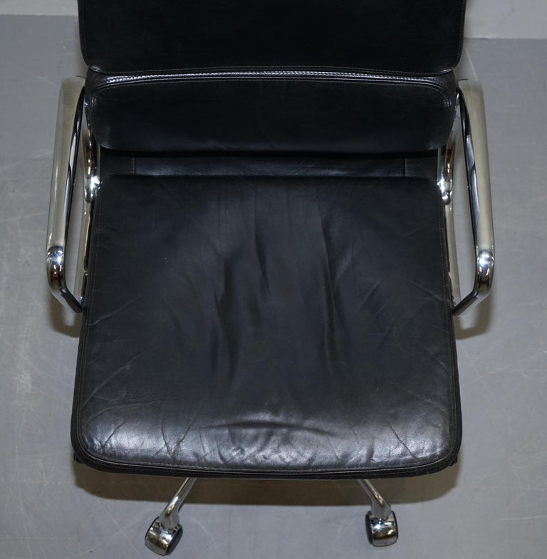 Hand-Crafted Eames EA219 Vitra Eames High Soft Pad Office Armchair Black Leather