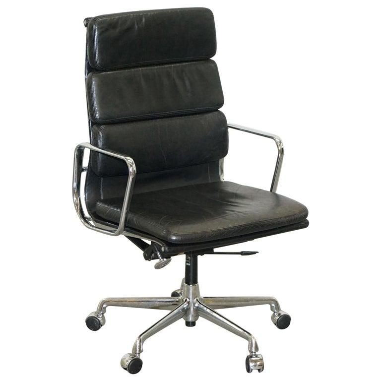 Eames EA219 Vitra Eames High Soft Pad Office Armchair Black Leather