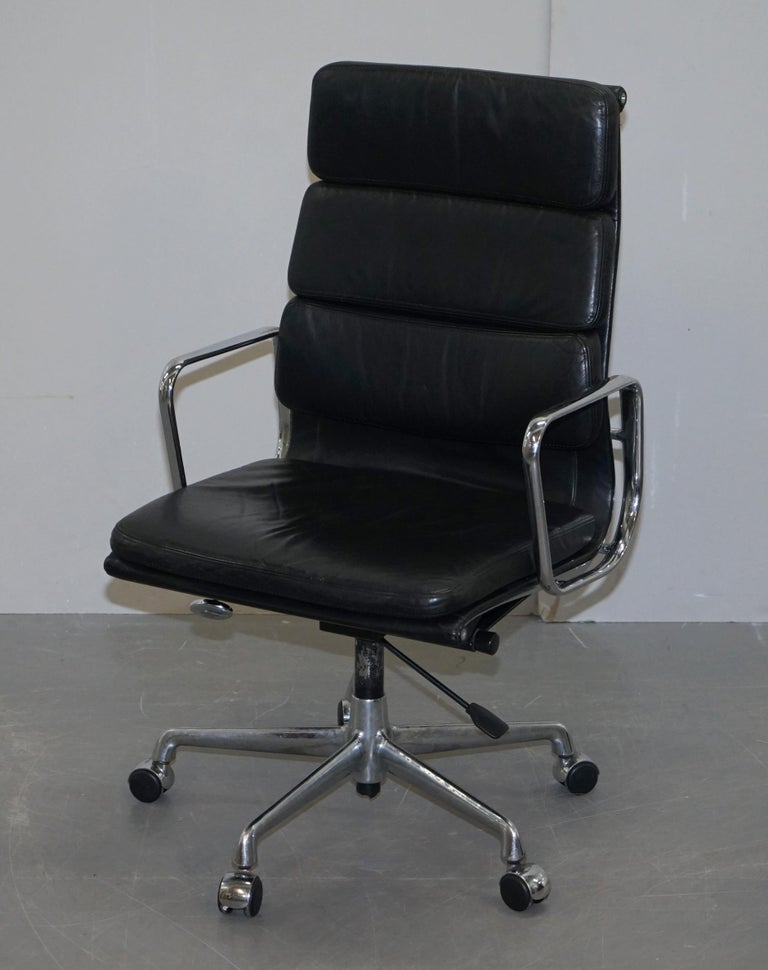 Art Deco Eames EA219 Vitra High Back Soft Pad Office Armchair Black Leather For Sale