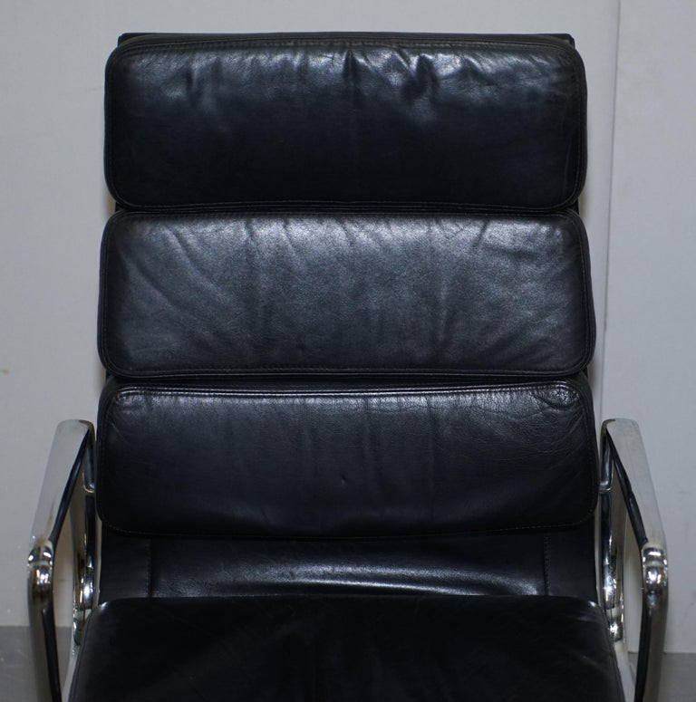 European Eames EA219 Vitra High Back Soft Pad Office Armchair Black Leather For Sale