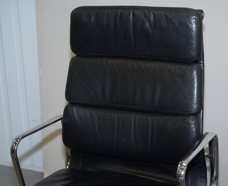 Hand-Crafted Eames EA219 Vitra High Back Soft Pad Office Armchair Black Leather For Sale