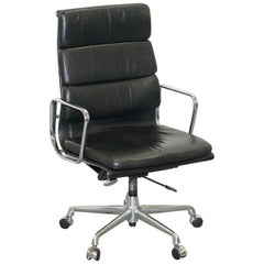 Eames EA219 Vitra High Back Soft Pad Office Armchair Black Leather