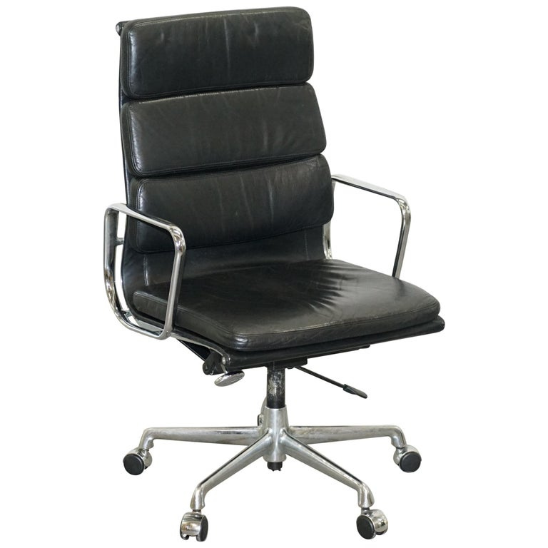 Eames EA219 Vitra High Back Soft Pad Office Armchair Black Leather For Sale