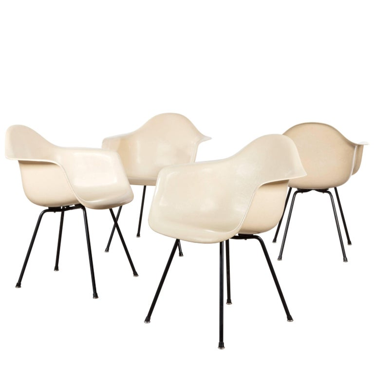 Eames Early Parchment DAX Dining Chair for Herman Miller, 1950s