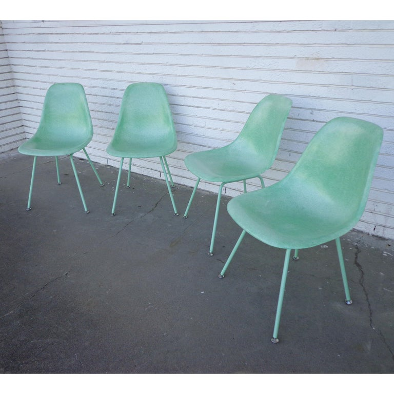 Eames Fiberglass chairs by Modernica    Side Shell H Base  Case Study Furniture Side Shell H Base   The Fiberglass Shell Chair designed by Charles and Rae Eames is easily one of the most important and recognizable designs of the twentieth